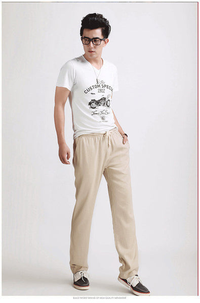 2017 Top Selling Solid Spring Summer Men Linen Pants Trousers Big Size Casual Mens jogger Pants M-5XL-Men's Pants-Enso Store-Beige-M-Enso Store