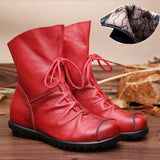 2017 Vintage Style Genuine Leather Women Boots Flat Booties Soft Cowhide Women's Shoes Front Zip Ankle Boots zapatos mujer-Women's Shoes-Enso Store-Burgund Plush lining-7.5-Enso Store