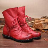 2017 Vintage Style Genuine Leather Women Boots Flat Booties Soft Cowhide Women's Shoes Front Zip Ankle Boots zapatos mujer-Women's Shoes-Enso Store-Burgundy-5-Enso Store