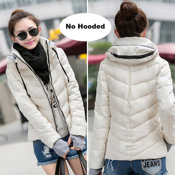 2017 Winter Jacket women Plus Size Womens Parkas Thicken Outerwear solid hooded Coats Short Female Slim Cotton padded basic tops-Enso Store-Beige-M-Enso Store