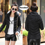 2017 Winter Jacket women Plus Size Womens Parkas Thicken Outerwear solid hooded Coats Short Female Slim Cotton padded basic tops-Enso Store-Black 1-M-Enso Store