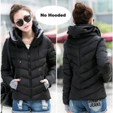 2017 Winter Jacket women Plus Size Womens Parkas Thicken Outerwear solid hooded Coats Short Female Slim Cotton padded basic tops-Enso Store-Black-M-Enso Store