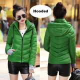 2017 Winter Jacket women Plus Size Womens Parkas Thicken Outerwear solid hooded Coats Short Female Slim Cotton padded basic tops-Enso Store-Dark green-M-Enso Store