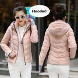 2017 Winter Jacket women Plus Size Womens Parkas Thicken Outerwear solid hooded Coats Short Female Slim Cotton padded basic tops-Enso Store-Light pink-M-Enso Store
