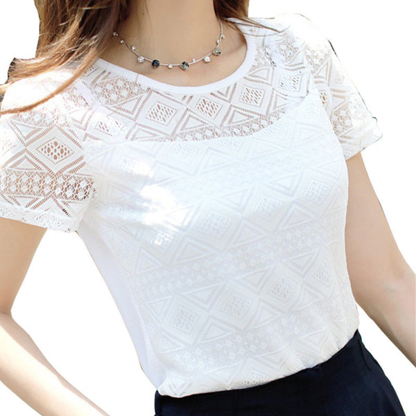 2017 Women Clothing Chiffon Blouse Lace Crochet Female Korean Shirts Ladies Blusas Tops Shirt White Blouses slim fit Tops-Women's Blouses-Enso Store-White-M-Enso Store