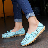 2017 Women Flats Cut-outs Comfortable Women Casual Shoes Round Toe Moccasins Loafers Wild Breathable Driving Woman Shoes ST431-Women's Flats-Enso Store-Sky blue-11-Enso Store