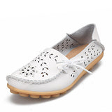 2017 Women Flats Cut-outs Comfortable Women Casual Shoes Round Toe Moccasins Loafers Wild Breathable Driving Woman Shoes ST431-Women's Flats-Enso Store-White-11-Enso Store
