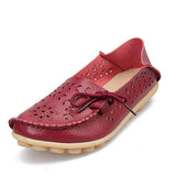 2017 Women Flats Cut-outs Comfortable Women Casual Shoes Round Toe Moccasins Loafers Wild Breathable Driving Woman Shoes ST431-Women's Flats-Enso Store-Wine Red-11-Enso Store
