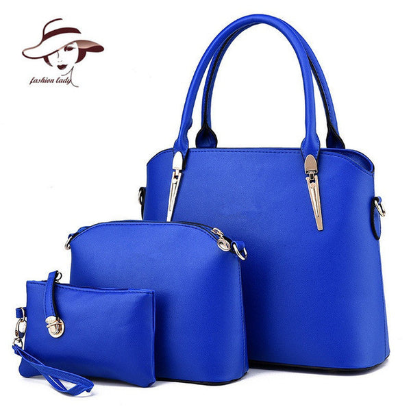 2017 Women Handbags Leather Handbag Women Messenger Bags Ladies Brand Designs Bag Famous Bags Handbag+Purse+Messenger Bag 3 Sets-Women's Bags-Enso Store-Sky Blue-Enso Store