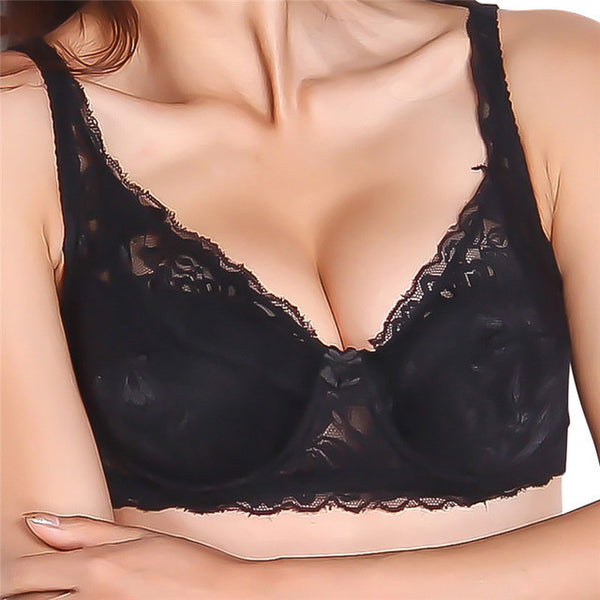 2017 Women Sexy Underwire Padded Up Embroidery Lace Bra 32-40B Brassiere Bra Push Up Bras for Lady YO-Women's Bras-Enso Store-Black-B-32-Enso Store