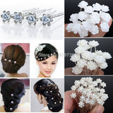 20/40PCS Wedding Bridal Pearl Hair Pins Flower Crystal Hair Clips Bridesmaid Jewelry 5 Styles hairpin Wholesale Free Shipping - EnsoStore