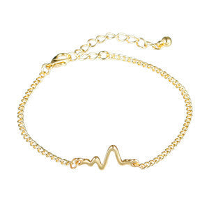 8SEASONS 3 colors New Arrival Heart beat Heartbeat Rhythm Chain Bracelet with Dangling Jewelry Bracelets Golden silver black-Bracelets & Bangles-Enso Store-gold-Enso Store