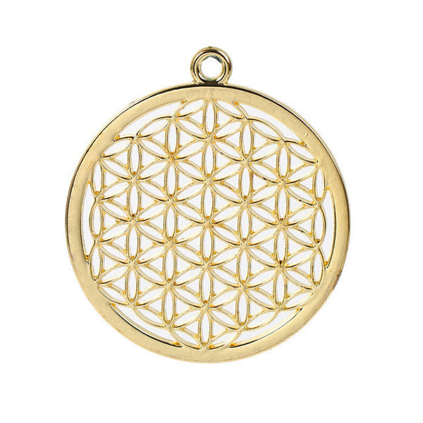 "8SEASONS Zinc Based Alloy Flower Of Life Pendants Round gold-color/dull silver-color Hollow 44mm(1 6/8"") x 40mm(1 5/8""), 3 PCs-Necklaces & Pendants-Enso Store-gold plated-Enso Store"