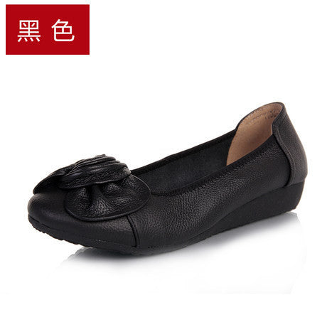 9 Colors Plus Size(34-43) Women Genuine Leather Flat Shoes Woman Loafers 2017 New Fashion Single Casual Shoes Women Flats-Women's Flats-Enso Store-Black-5-Enso Store