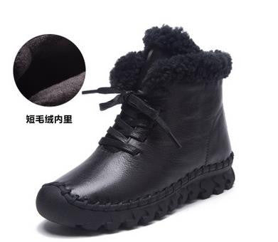 8a2ee1285243 A520 Warm Thick Cotton Winter Boots Women 2016 Fashion New Casual Female  Genuine Leather Flat Women s