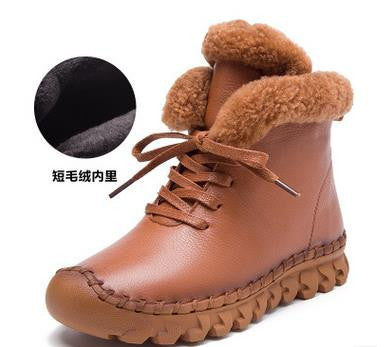1df1a1721f40 ... A520 Warm Thick Cotton Winter Boots Women 2016 Fashion New Casual  Female Genuine Leather Flat Women s ...