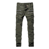 ABOORUN Mens Skinny Ripped Biker Jeans Multi Pockets Cargo Pant Army Green Mens Pleated Pencil Jeans P2086-Men's Jeans-Enso Store-army green-28-Enso Store