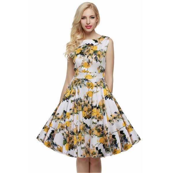 ACEVOG Brand S - 4XL Women Dress Retro Vintage 1950s 60s Rockabilly Floral Swing Summer Dresses Elegant Bow-knot Tunic Vestidos-Women's Dresses-EnsoStore-Light Yellow-L-Enso Store