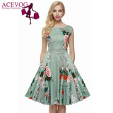 ACEVOG Brand S - 4XL Women Dress Retro Vintage 1950s 60s Rockabilly Floral Swing Summer Dresses Elegant Bow-knot Tunic Vestidos - EnsoStore