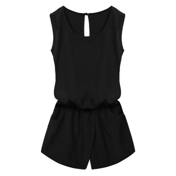ACEVOG Summer Jumpsuit 2017 Women Jumpsuit Casual Sexy Lady Sleeveless Backless Elastic Waist Print Mini Romper-Enso Store-Black-L-Enso Store