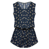 ACEVOG Summer Jumpsuit 2017 Women Jumpsuit Casual Sexy Lady Sleeveless Backless Elastic Waist Print Mini Romper-Enso Store-Navy Blue Print-L-Enso Store