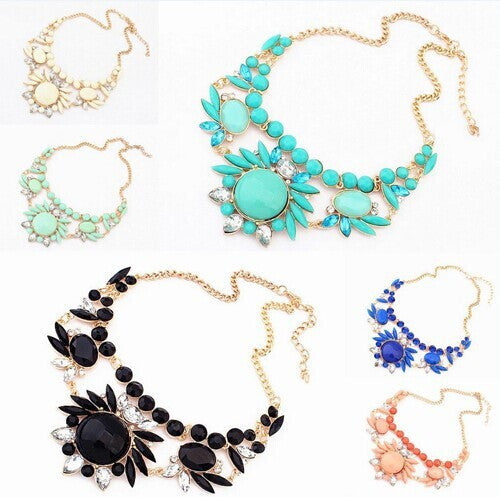 Ahmed Jewelry 2017 New Hot high quality Choker Colorful Gem Necklace Woman Pop Christmas Gift Necklaces & Pendants-Necklaces & Pendants-Enso Store-Color A-Enso Store