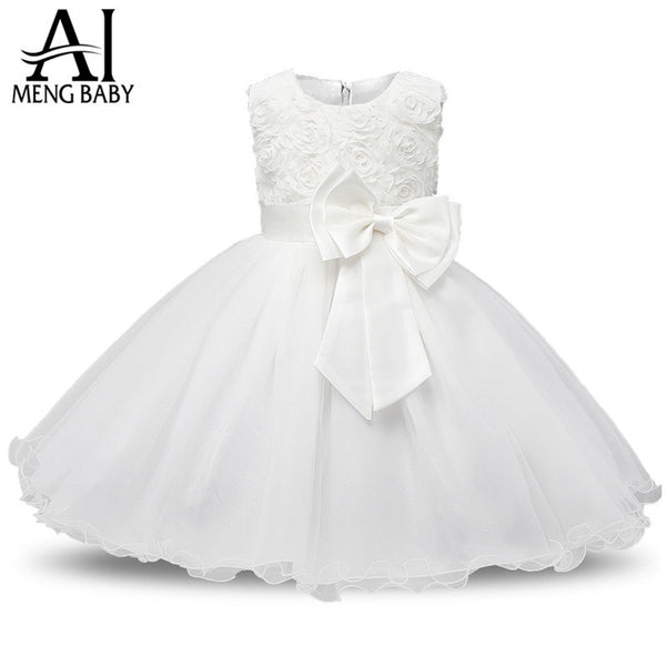 Ai Meng Baby Flower Princess Girl Dress Wedding First Birthday Newborn Baby Baptism Clothes Toddler Kids Party Dresses For Girls-Baby Girls Clothing-Enso Store-White-3M-Enso Store