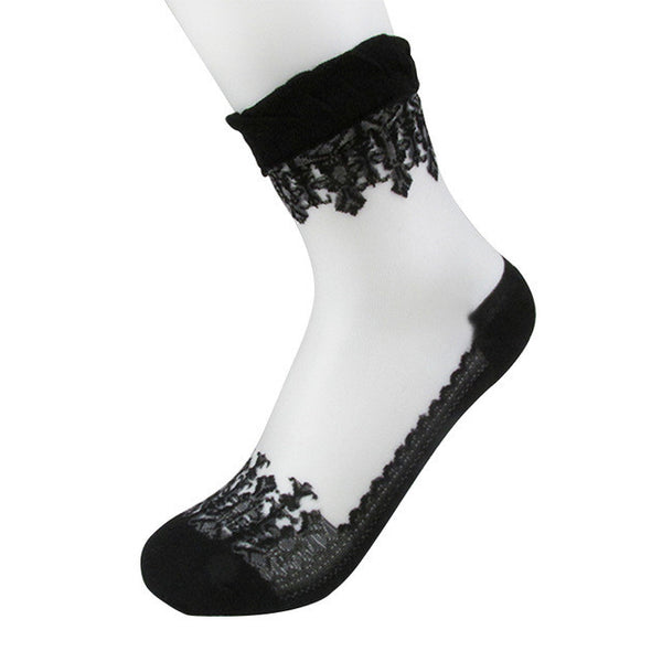 Amazing Summer Ultrathin Transparent Crystal Silk Lace Elastic Short Socks Women Girls-Enso Store-black-Enso Store