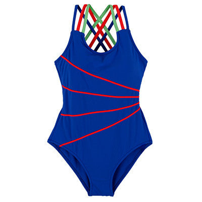 Andzhelika 2017 Swimsuit Girls One Piece Swimwear Solid Bandage Bodysuit Children Beachwear Sports Swim Suit Bathing Suit AK8675-Children's Swimwear-Enso Store-Blue-120-Enso Store