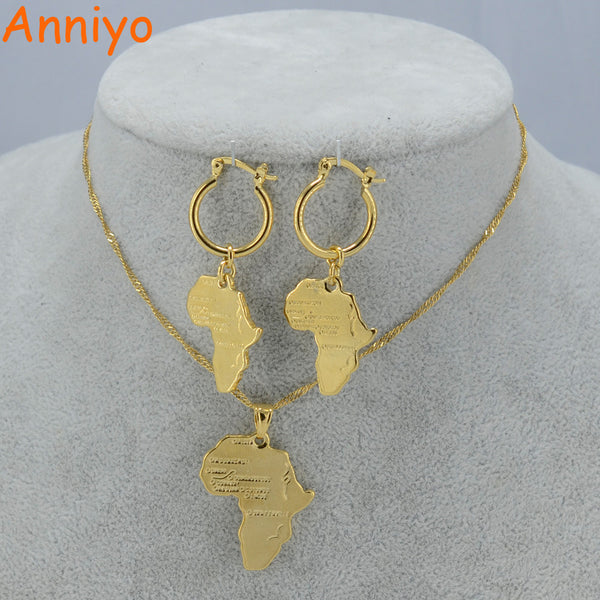 Anniyo African Map Jewelry sets Necklace Earrings for Women Gold Color Ethiopian Jewellery/Nigeria/ Congo/Ghana #001702-Wedding & Engagement Jewelry-Enso Store-With 45cm Thin Chain-Enso Store