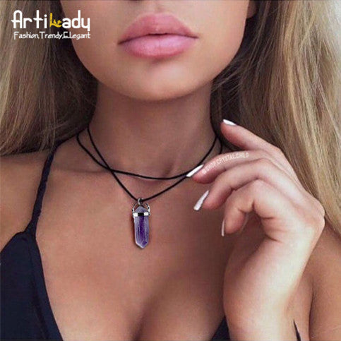 Artilady pu leather natural crystal stone opal choker necklace fashion boho choker for women jewelry party gift-Necklaces & Pendants-Enso Store-amethyst-Enso Store