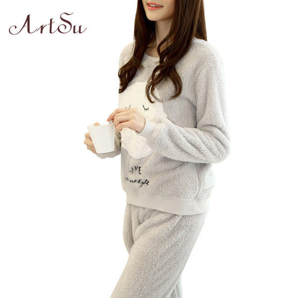 ArtSu Winter New Thickened Cute Sleeping Owl Coral Fleece Pajamas Home Furnishing Suit Coral Velvet Home Wear Leisure Wear 9123 - EnsoStore