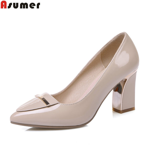 ASUMER High heel large size 33-41 office shoes pointed toe square heels slip-on women pumps sequined black apricot lady shoes - EnsoStore