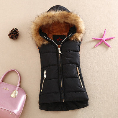 autumn and winter 2017 cotton vest with a hood patchwork cotton vest female reversible winter jacket women-Enso Store-Black-S-Enso Store