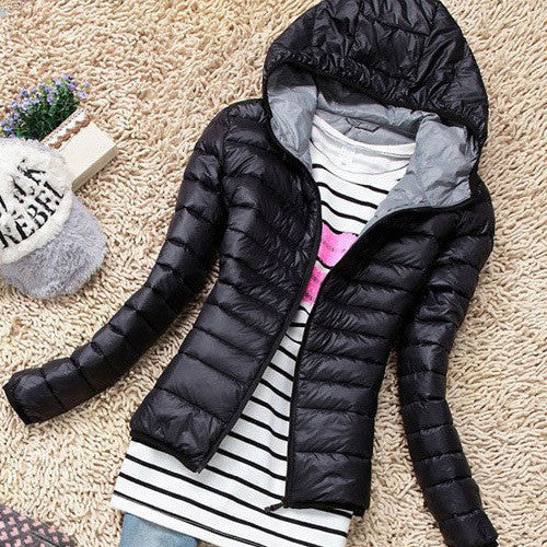 Autumn Winter Women Basic Jacket Coat Female Slim Hooded Brand Cotton Coats Casual Black Jackets-Enso Store-Black-L-Enso Store