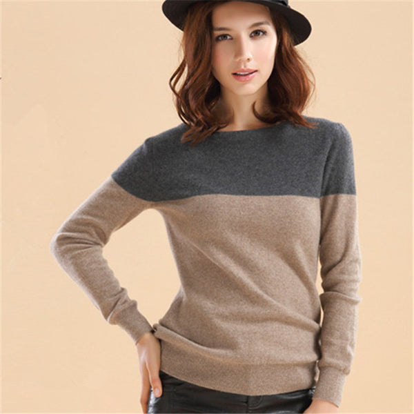 Autumn&Winter Cashmere Sweater Women Patchwork Pullovers O-Neck Knitted Soft Warm Cashmere Pullover Female Fashion High Qaultiy-Enso Store-Multi-S-Enso Store