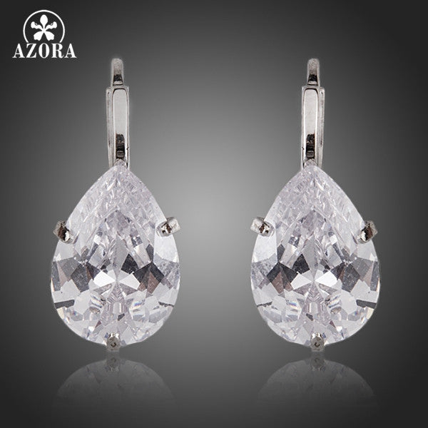 AZORA Brand Design Pear Cut Clear Cubic Zirconia Water Drop Earrings TE0158-Earrings-Enso Store-Enso Store