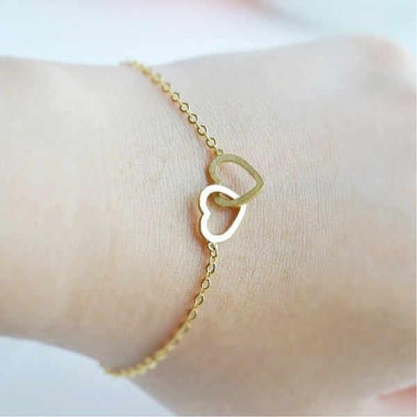 B065 Famous Brand Jewelry Love Gold Colour Double Heart Bracelet Mom Charm Stainless Steel Hand Chain Mother's Day Jewelry Gift - EnsoStore