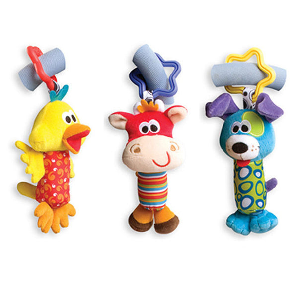 Baby Toys Rattle Tinkle Hand Bell Multifunctional Plush Toy Baby Stroller Rattles Toy Duck, Fawn, Dog for Kids-Baby Toys-Enso Store-Duck-Enso Store