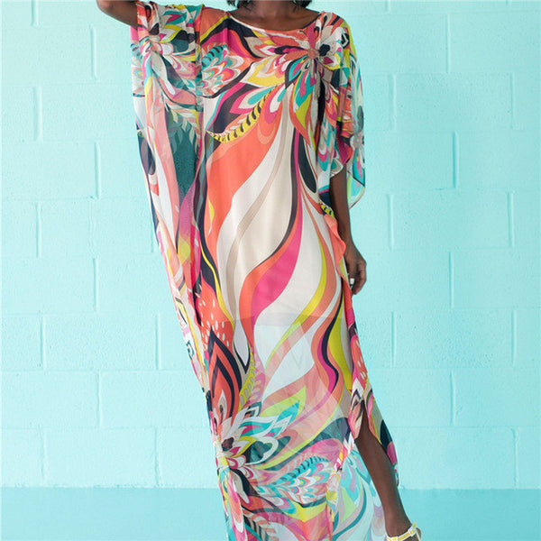 Beach Dress Kaftan Pareo Sarongs Sexy Cover-Up Chiffon Bikini Swimwear Tunic Swimsuit Bathing Suit Cover Ups Robe De Plage #Q97-Women's Swimwear-Enso Store-Enso Store
