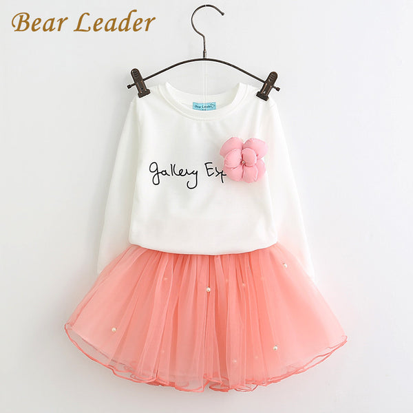 Bear Leader Lovely Girls White Tee Shirt and Pink Skirt With Rhinestone Clothes Set for Kids Girl Autmn Children Clothing Sets-Girls Clothing-Enso Store-Pink-2T-Enso Store