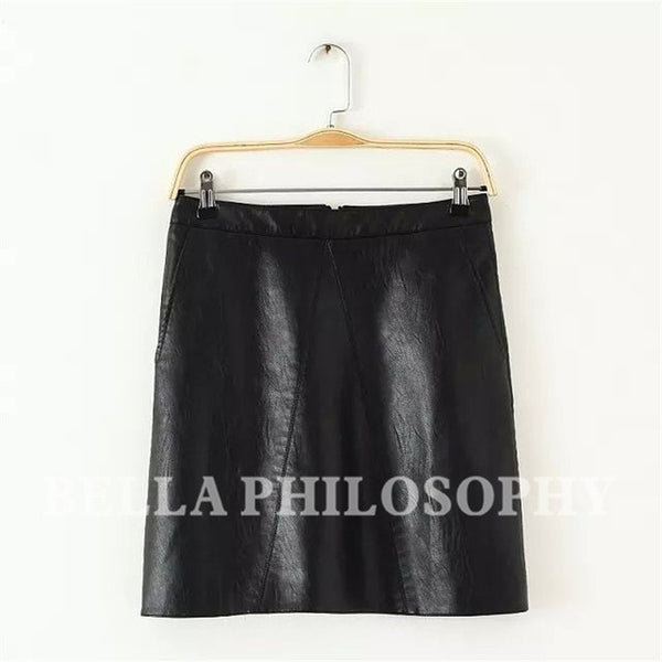 Bella Philosophy 2017 spring high waist PU faux leather women skirt pink yellow black green blue zipper real photo-Women's Bottoms-Enso Store-A BLACK-L-Enso Store