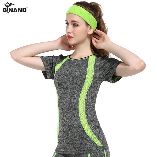 BINAND Women Stylish Short Sleeve Sports Yoga Shirts Professional Contrast Color Elastic Fitness Tops Running Athleisure T-Shirt-Sports Clothing-Enso Store-Blue-S-Enso Store