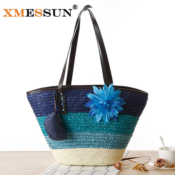 Bohemia Flower Knitted Straw Bag-Women's Bags-Enso Store-Blue-(30cm<Max Length<50cm)-Enso Store