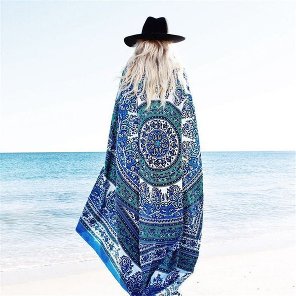 Bohemia style Beach Cover Up Round 150cm Beach Towel Sea Holiday Beach mats Shawl Yoga Mat Sarong Cloak Bathing Suit-Women's Swimwear-Enso Store-Ivory-150cm-Enso Store