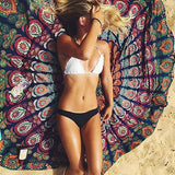 Bohemia style Beach Cover Up Round 150cm Beach Towel Sea Holiday Beach mats Shawl Yoga Mat Sarong Cloak Bathing Suit-Women's Swimwear-Enso Store-White-150cm-Enso Store