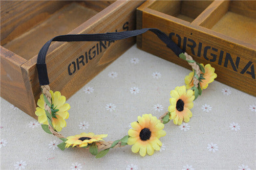 Boho Daisy Hair Bands for Women Hair Accessories New Wreath Headbands Festival Scrunchy Elastic Flower Hair Garland-Women's Accessories-Enso Store-yellow-Enso Store