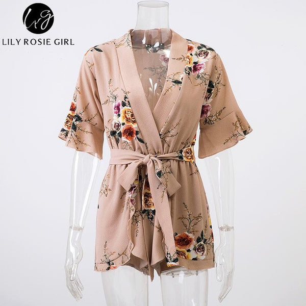1abf60d8e0 ... Boho Red Floral Print Ruffles Playsuits Women Elegant Autumn White V  Neck Jumpsuits Rompers Sexy Beach ...