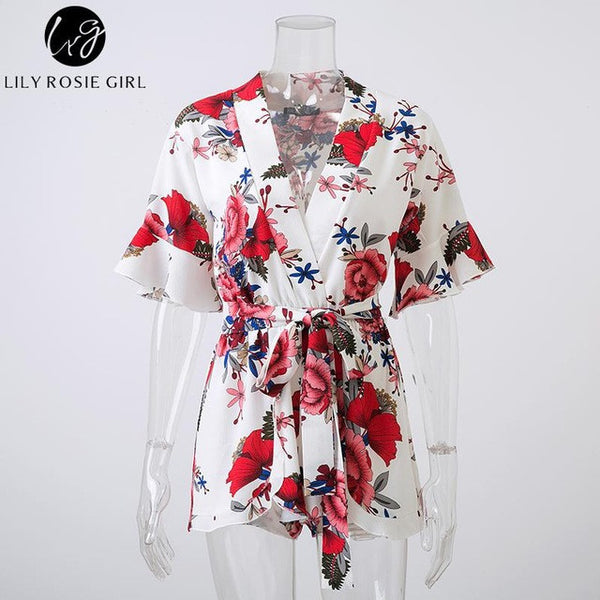 099a894195a38 Boho Red Floral Print Ruffles Playsuits Women Elegant Autumn White V Neck  Jumpsuits Rompers Sexy Beach Girls Short Overalls