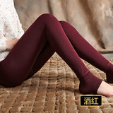 Bohocotol elastic plus velvet women's autumn and winter high waist skin color incarcerators legging trousers thickening step one-Women's Bottoms-Enso Store-claretred-S-Enso Store